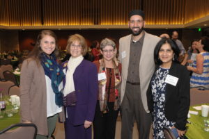 (From left) Alex Null (Temple Emanu-El staff), Rosie Stromberg (member of JCRC Interfaith Seder planning committee), Linda Evans, Shaykh Omar Suleiman (co-chair of Faith Forward, an Interfaith clergy group) and Almas Muscatwalla, chair of Thanksgiving Square Interfaith Council