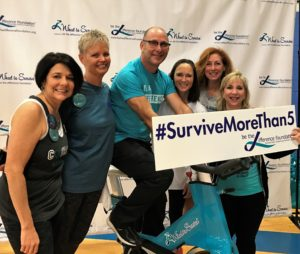 (left to right) Wheel to Survive board members Jill Bach, Lynn Lentscher, Gary Gardner, Lisa Hurst, Sheryl Yonack, and Julie Shrell at the 2017 Wheel to Survive at the Aaron Family JCC (not pictured Darren Fishman and Missy Quintana).