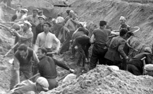 Jews digging a trench in which they were later buried after being shot in Ponary, Poland. (Courtesy of Yad Vashem)