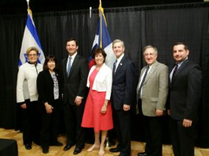 Submitted photo (From left) Texas State Representative Linda Koop, Chair of Southwest Jewish Congress Susie Avnery, Texas State Representative Craig Goldman, Dallas JCRC Executive Director Anita Zusman Eddy, Texas State Representative Phil King, Charles Pulman, StandWithUs Regional Director Jesse Stock