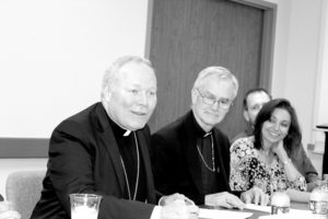 Submitted photo (From left) JFGD Chair Dan Prescott, Bishop Edward J. Burns, Bishop Gregory Kelly and JCRC Chair Melanie Rubin visit with Jewish community leaders Monday at Federation headquarters.