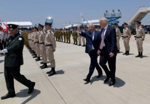 "US President Donald Trump with Israeli President Reuven Rivlin as he arrives at Ben Gurion Airport near Tel Aviv on May 22, 2017, for his first official visit to Israel since becoming US president. Photo by Avi Ohayon/GPO *** Local Caption *** ארצות הברית ארהב  ארה""ב דונלד טראמפ נשיא אמריקה ראובן ריבלין משמר הכבוד"