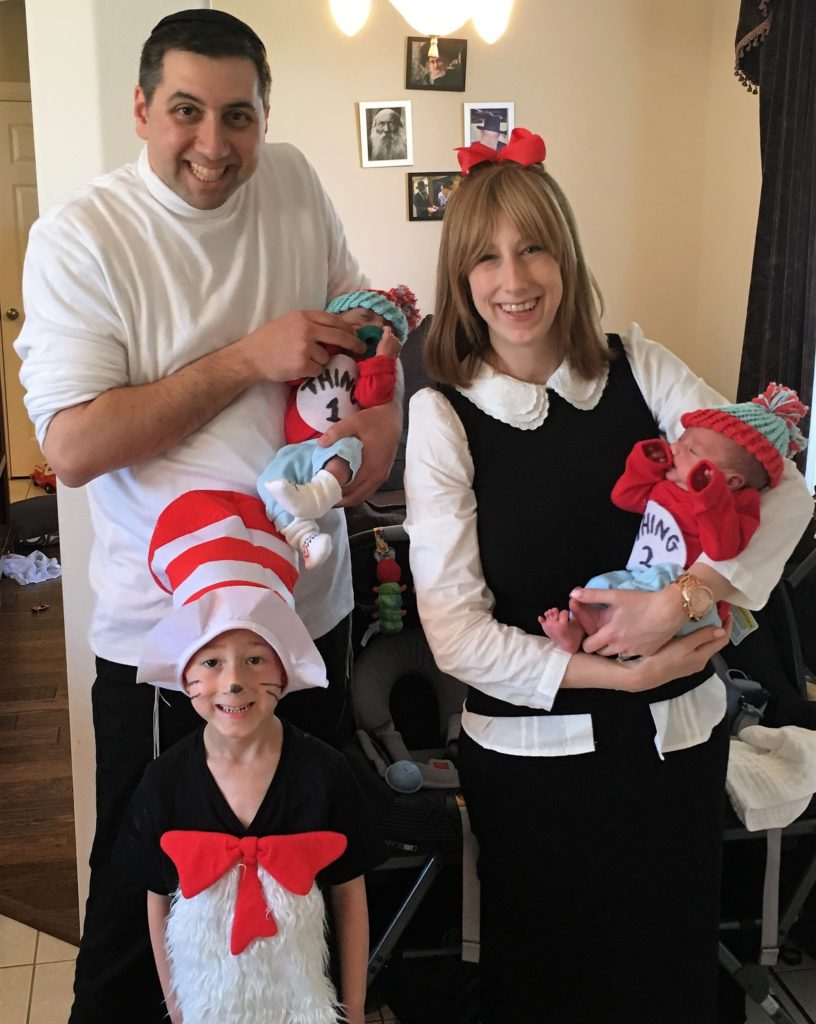 Photo: Friedman Family Last March, Rabbi Mike and Nikki Friedman, founders of Mekimi, celebrated Purim fun as the Cat in the Hat and friends with their children (left to right) Azarya, Shalev and Akiva.