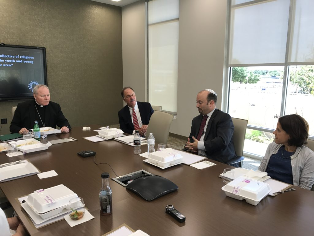 Submitted photo (From left) Bishop Edward Burns, of the Catholic Diocese of Dallas; Bill Keffler, also of the Catholic Diocese of Dallas; Rabbi Ari Sunshine, Congregation Shearith Israel; Cindy Moskowitz, former Federation board chair and JCRC executive committee member