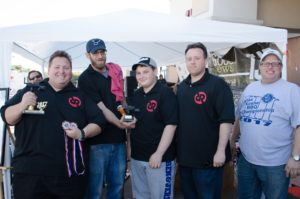 """Rubbed and Ready"" Turkey category winners, from left, Hunter Rose, Matt Stiffelman, Dylan Rose, Jared Elad with Event Chair Brian Rubenstein"