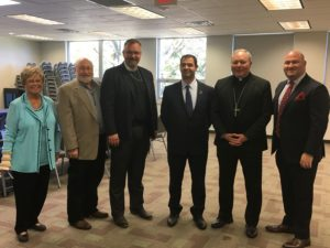 Submitted photo (From left) Reverend Dr. Janet DeVries, Rabbi Seymour Rossel, Bishop Erik Gronberg, Israeli Consul General Gilad Katz, Bishop Edward Burns, and Jewish Federation CEO Bradley Laye