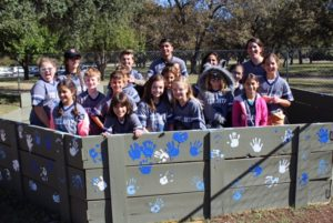 Photo: Lisa Rothberg Temple Shalom fifth-graders decorate their new gaga pit.