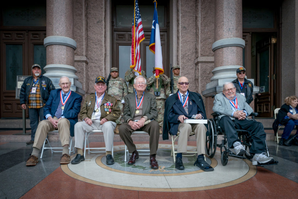 Photo: Mark Umstot (From left) Liberators Bill Kongable, Bireny Havey, Gerald Powell, Chet Rohn and Herb Stern attend the ceremony.