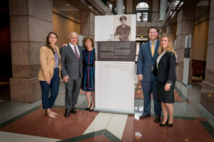 Photo: Mark Umstot (From left) Danielle Berg, Mark Berg (whose father Lee Berg was the Liberator), Fran Berg, Jared Berg and Molly Berg stand beside a monument to the Liberators.