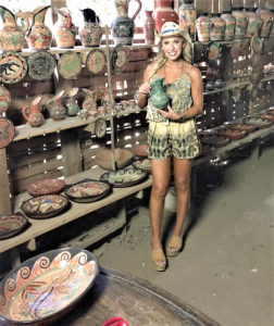 On her Travel Time with Linda television show, which debuts on Jan. 6, Linda Cooper features shopping venues around the world – here previewing Choratega Pottery she found in Costa Rica.