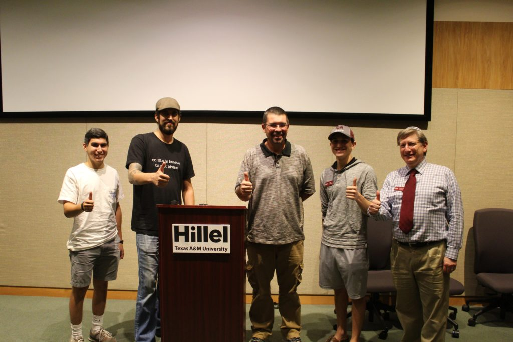 Submitted photo (From left) Aggie student Gabe Noble, of Dallas; Daniel Brea, writer, producer and director of Escape from Room 18; John Daly, former neo-Nazi skinhead; student Aaron Blasband of Dallas; and Rabbi Dan Aronson, A&M Hillel executive director
