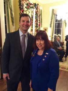 AJC Dallas President Susie Avnery and State Rep. Craig Goldman of Fort Worth at the governor's Hanukkah party