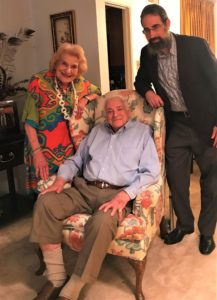 Photo: Deb Silverthorn Jack Repp will speak at the 2018 IntraFaith Sisterhood Brunch at Temple Emanu-El. Repp (center), here with event Honorary Chair Sarah Yarrin, has told the story of his life in his recently published Dreams & Jealousy, his story as told to Rabbi Dan Lewin (right).