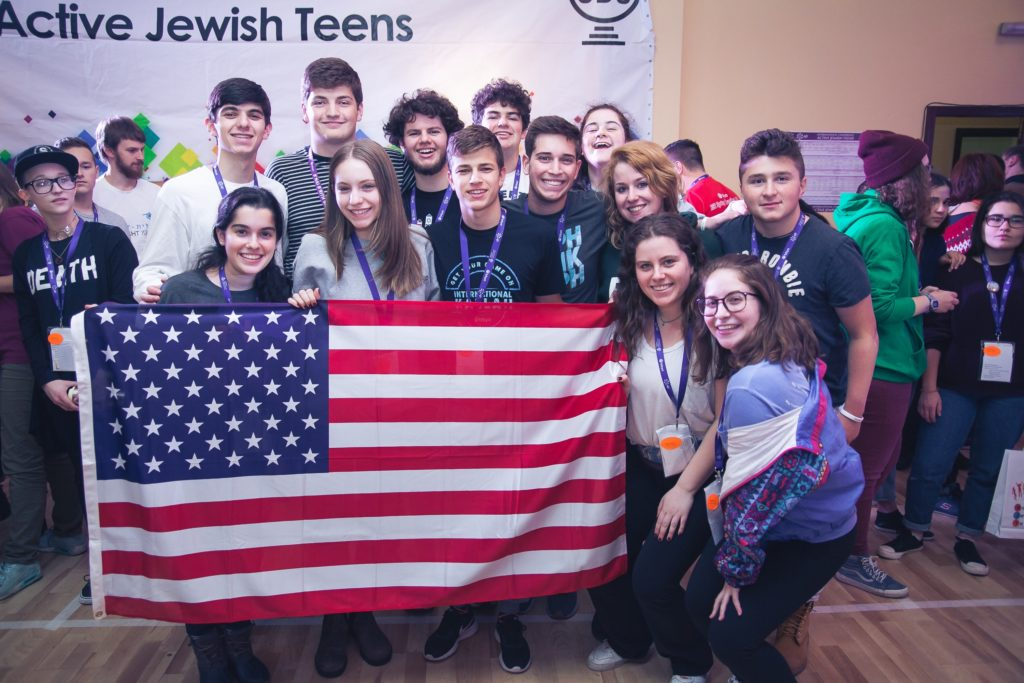BBYO's American delegation at opening ceremonies of the AJT Conference. Ben Levkovich is third from left in the front row.