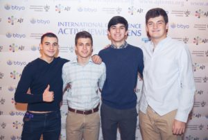 (Left to right) Lev Feitman, Ben Levkovich, Jake Bush and Jacob Ioffe pose for pictures before Shabbat at the AJT Conference.