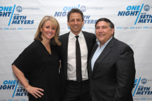 Stephanie and Dan Prescott with Seth Meyers, the featured performer at ONE Night 2016