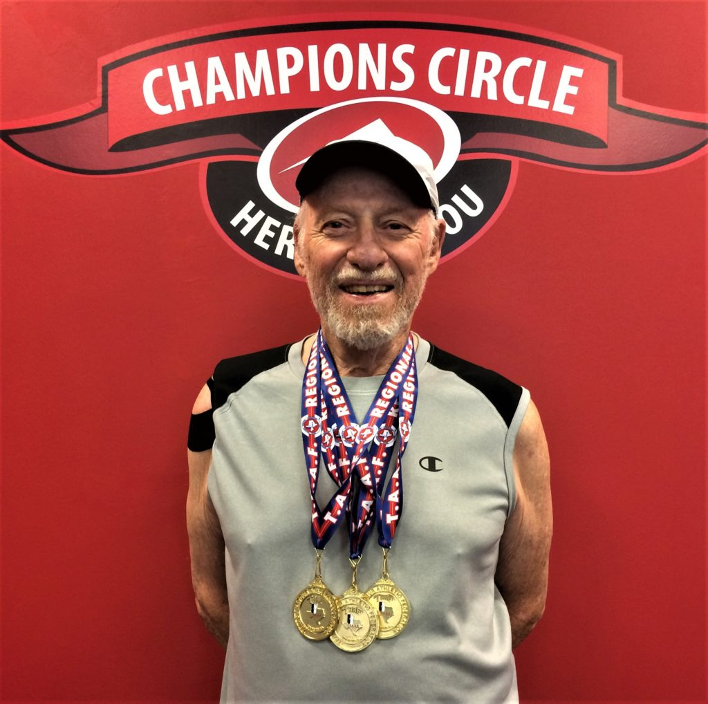 Larry Mandell has won 40 swimming medals in the last nine years with records in the 75- to 79-year and 80- to 84-year age brackets.