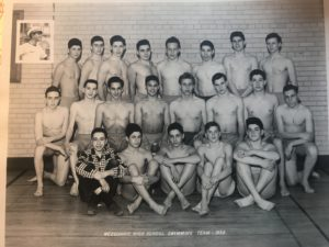 Larry Mandell (back row, center) and Ariel (Richard) Larkey (third from right) and their Weequahic High School swim team, the 1952 city champs, remain close friends, despite the thousands of miles between their homes in Texas and Israel.