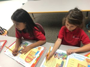 Elia Puente and Eliyana Rey study Hebrew at Lone Star Language Academy.